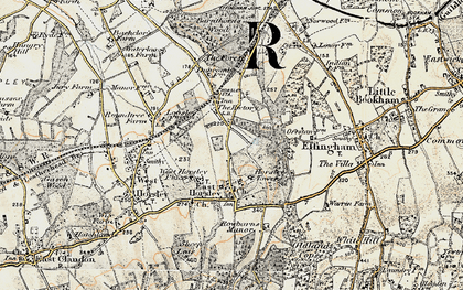 Old map of East Horsley in 1898-1909