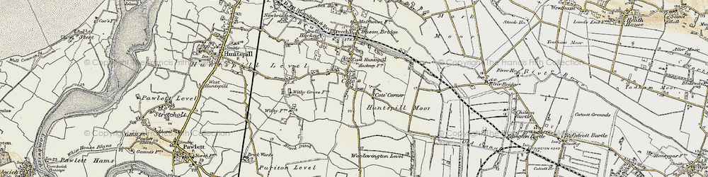 Old map of East Huntspill in 1898-1900