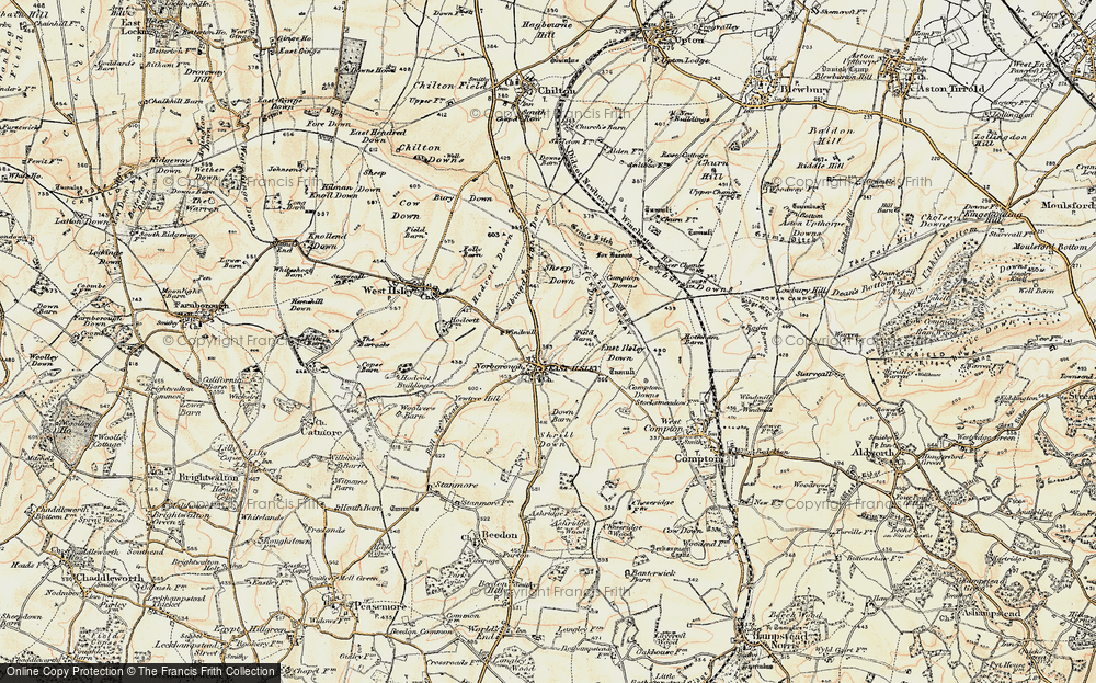 Old Map of Historic Map covering Abingdon Lane Down in 1897-1900