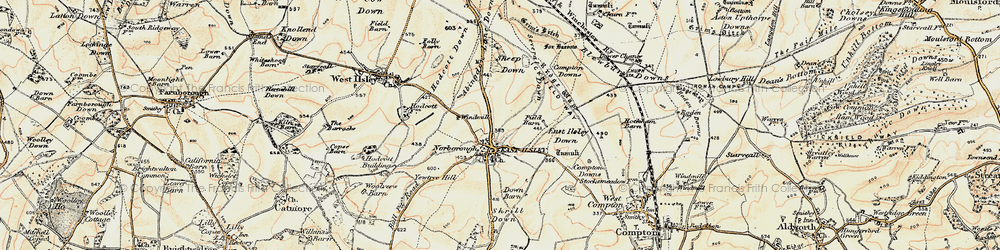 Old map of Abingdon Lane Down in 1897-1900