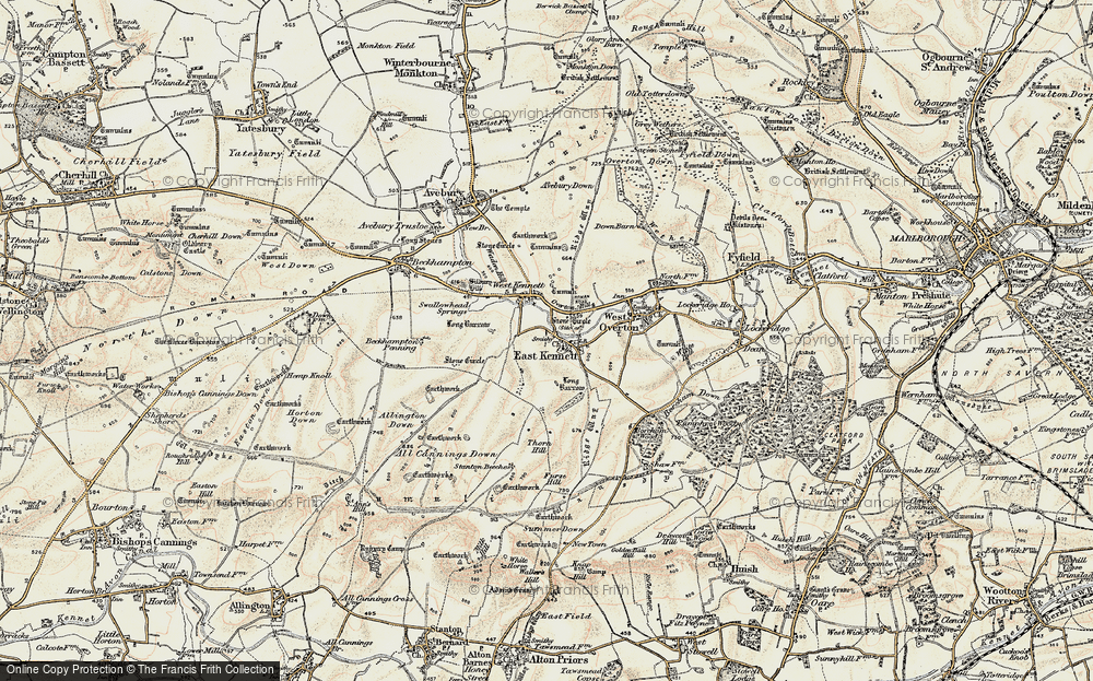 Old Map of Historic Map covering All Cannings Down in 1897-1899