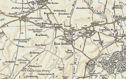Old map of All Cannings Down in 1897-1899