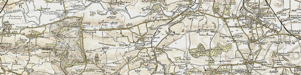 Old map of Wharfe Dale in 1903-1904