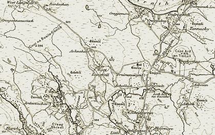 Old map of Achallach in 1910-1912