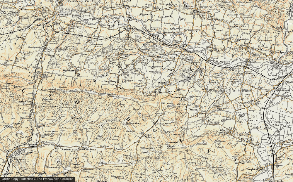 Old Map of Historic Map covering Woolavington Down in 1897-1900