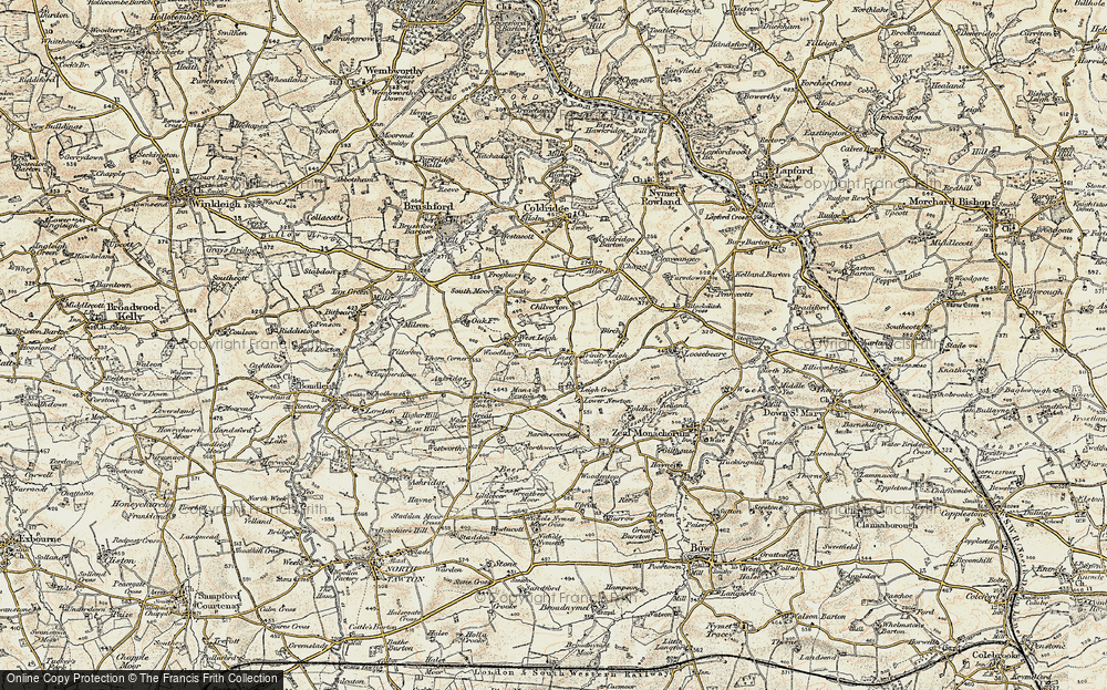 Old Map of Historic Map covering Leigh Cross in 1899-1900