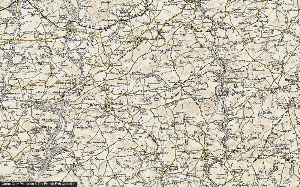 Old Map of Historic Map covering Ayleston Cross in 1899-1900