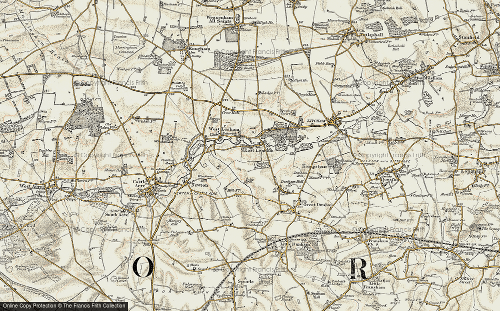 Old Map of Historic Map covering Lexham Hall in 1901-1902