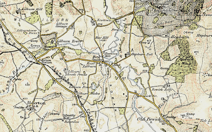Old map of Lilburn South Steads in 1901-1903