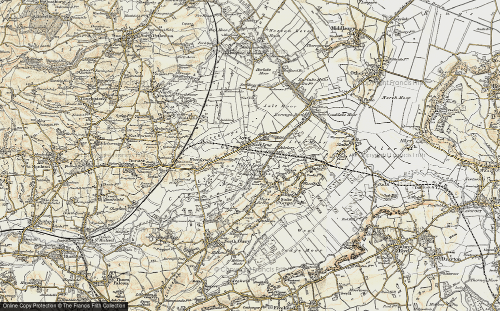 Old Map of East Lyng, 1898-1900 in 1898-1900