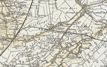 Old map of East Lyng in 1898-1900