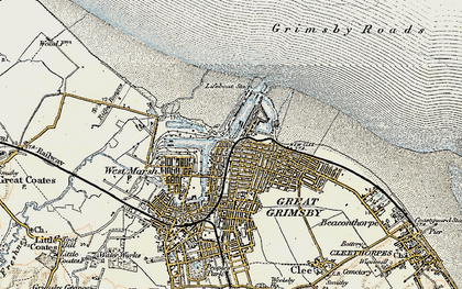 Old map of East Marsh in 1903-1908