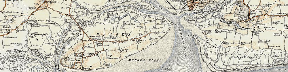 Old map of Wick Marsh in 1898-1899