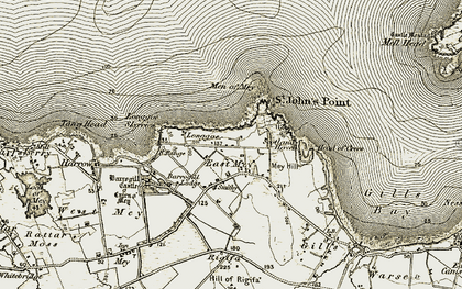 Old map of East Mey in 1912