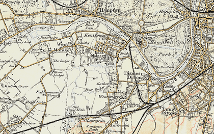 Old map of East Molesey in 1897-1909