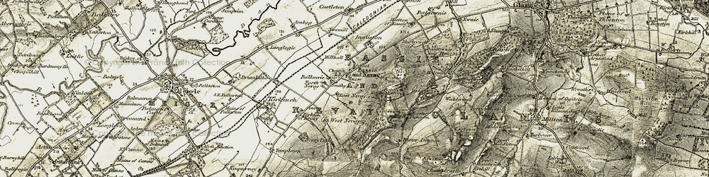 Old map of Wester Denoon in 1907-1908