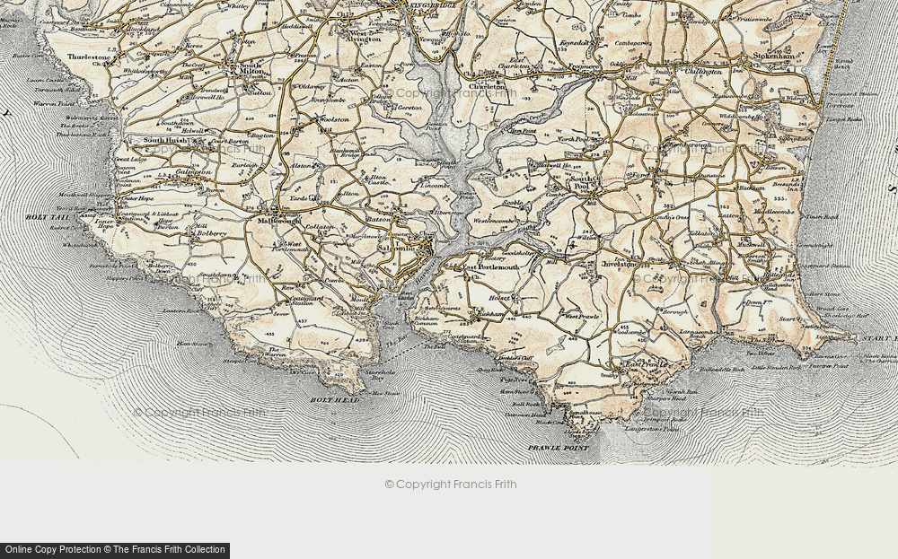 Old Map of Historic Map covering Westerncombe in 1899