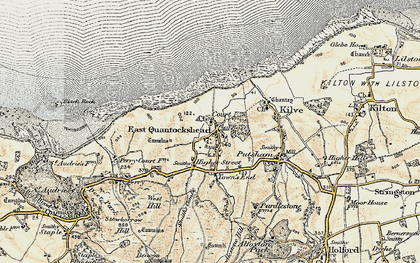 Old map of East Quantoxhead in 1898-1900