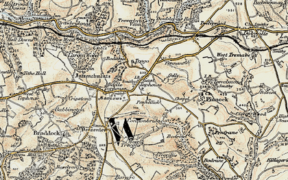 Old map of East Taphouse in 1900