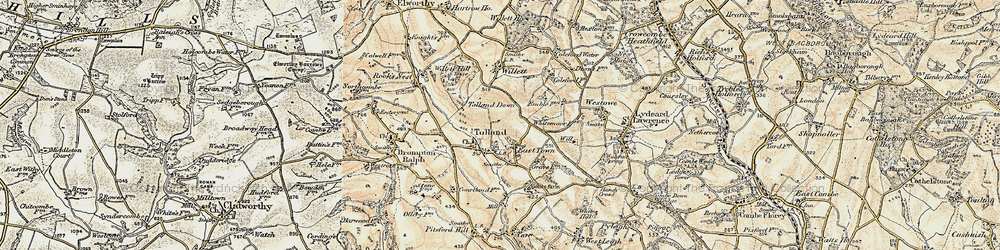 Old map of Tolland Down in 1898-1900