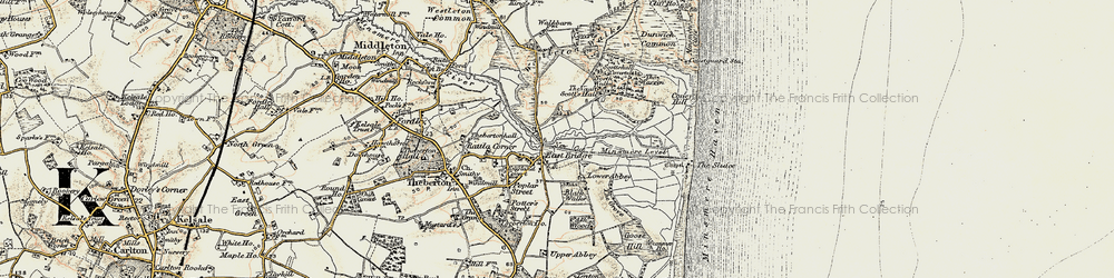 Old map of Westleton Walks in 1901