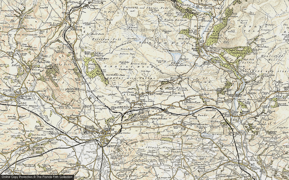 Old Map of Historic Map covering Barden Moor in 1903-1904
