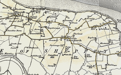 Old map of Eastchurch in 1897-1898