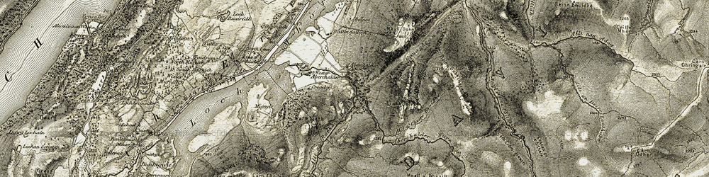 Old map of Aberchalder Burn in 1908-1912