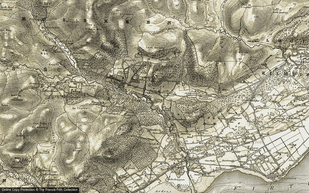 Old Map of Historic Map covering Achandunie in 1911-1912
