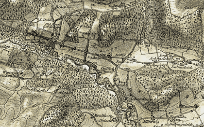 Old map of Achandunie in 1911-1912