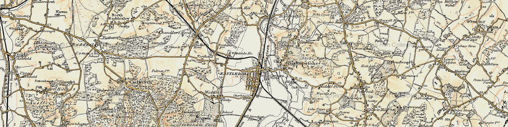 Old map of Eastleigh in 1897-1909