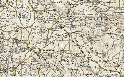 Old map of Whiddon in 1899-1900