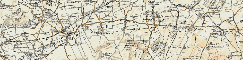 Old map of Easton Royal in 1897-1899