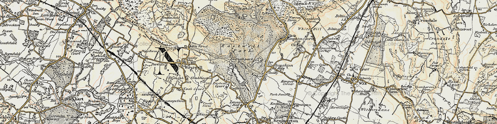 Old map of Eastwell Park in 1897-1898