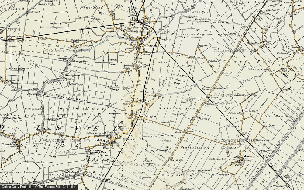 Old Map of Historic Map covering Latches Fen in 1901