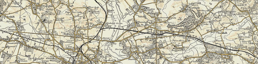 Old map of Withies in 1899-1901