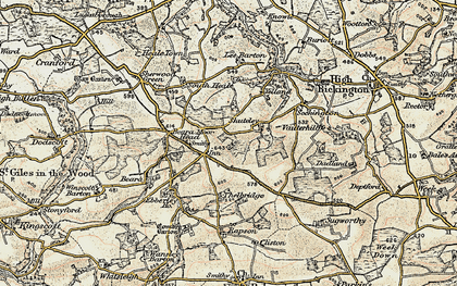 Old map of Withy Cross in 1899-1900