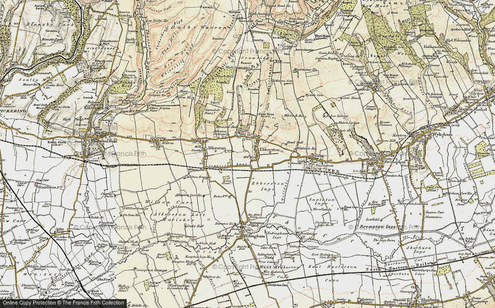 Old Map of Historic Map covering Allerston Partings in 1903-1904