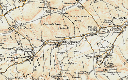 Old map of Ebbesbourne Wake in 1897-1909