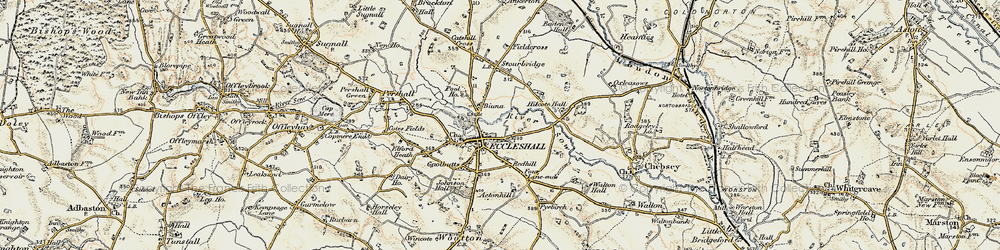 Old map of Eccleshall in 1902