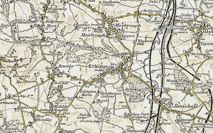Old map of Eckington in 1902-1903
