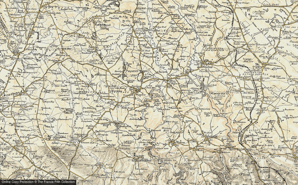Old Map of Historic Map covering Back of Ecton in 1902-1903