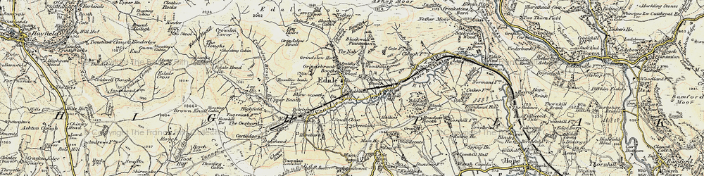 Old map of Edale in 1902-1903
