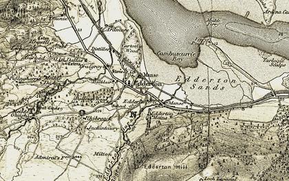Old map of Edderton in 1911-1912