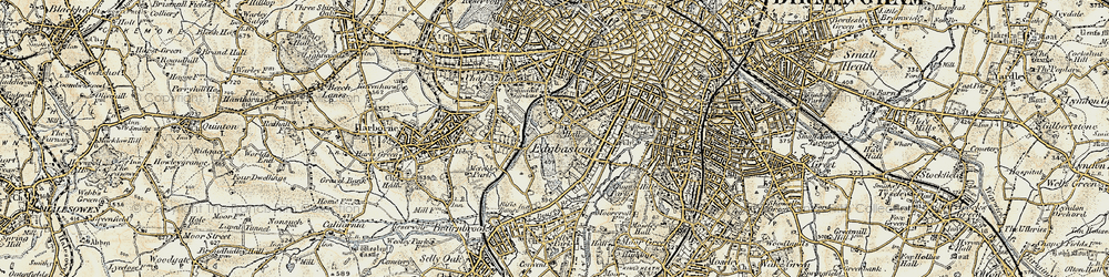 Old map of Edgbaston in 1901-1902
