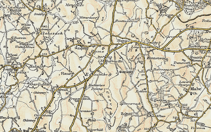 Old map of Edgcumbe in 1900