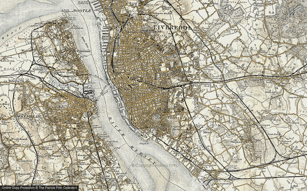 Old Map of Historic Map covering Lime St Sta in 1902-1903