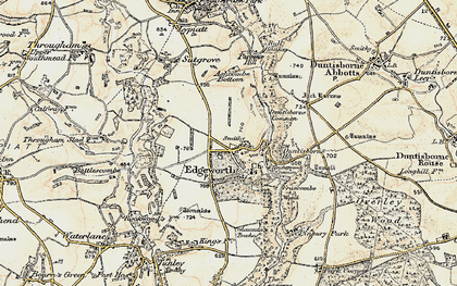 Old map of Ashcombe Bottom in 1898-1899