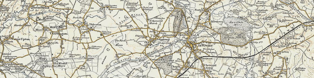 Old map of Edgmond in 1902