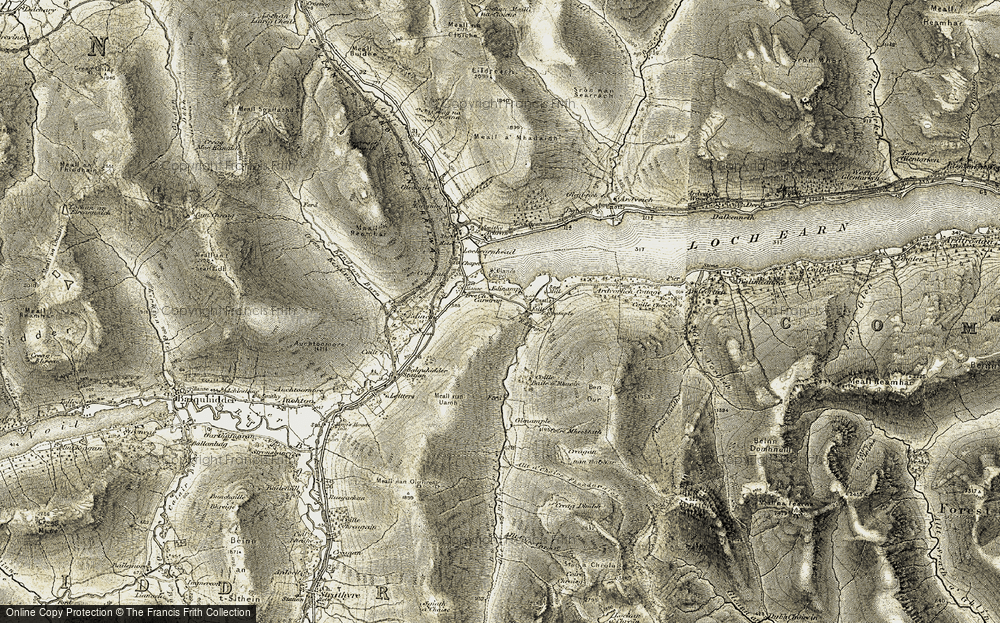 Old Map of Historic Map covering Allt a' Choire Fhuadaraich in 1906-1907